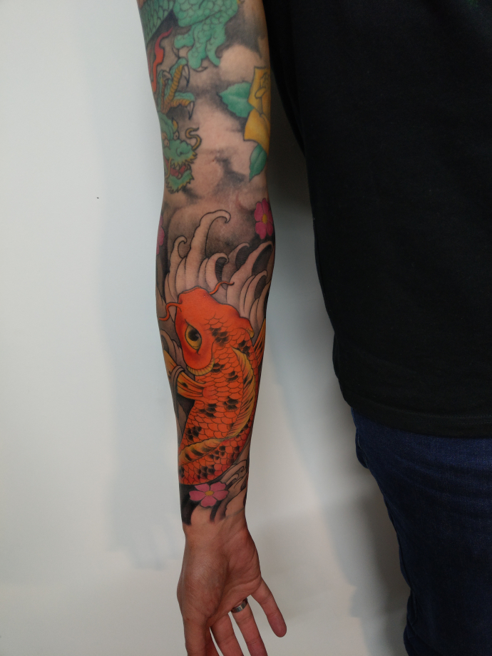 orange koi tattoo sleeve